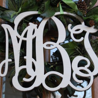 18 Inch Classic Wood Triple Letter Monogram