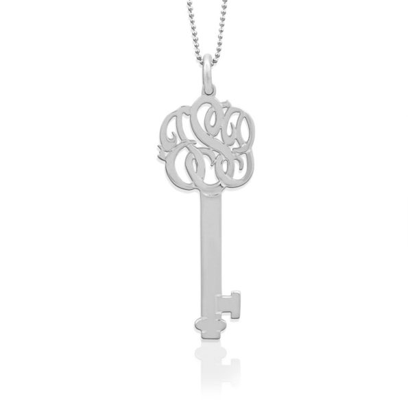 Sterling Silver Monogrammed Key to Your Heart Necklace - Jane Basch
