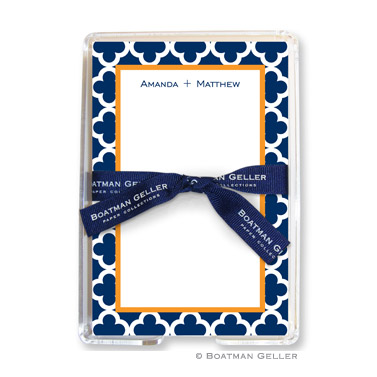 Bristol Tile Navy Personalized Note Sheets by Boatman Geller
