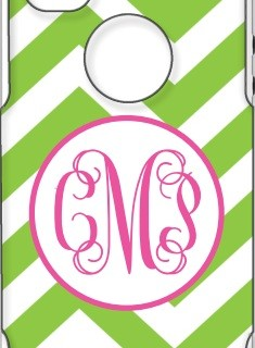 Otterbox Apple Green Chevron Fuschia Ring Circle Vine Monogram