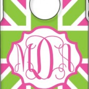 Otterbox Union Jack Prepster Fuschia & Apple - Fuschia Hollow Vintage Frame Vine Monogram