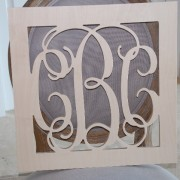 18 Inch Square Bordered Monogram