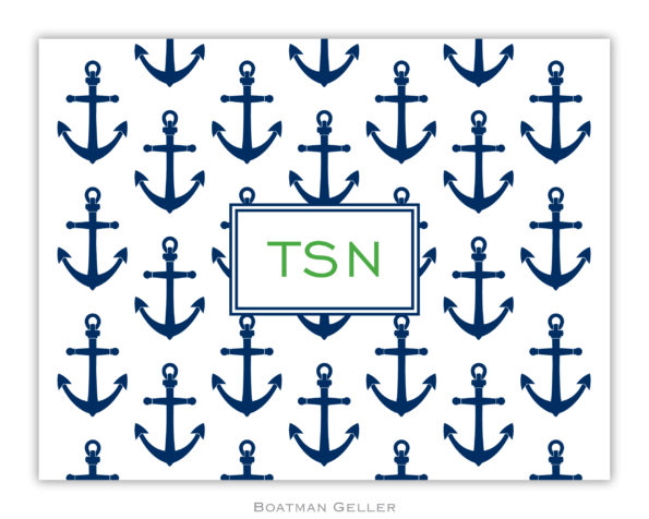 Anchors Navy Personalized Foldover Notes