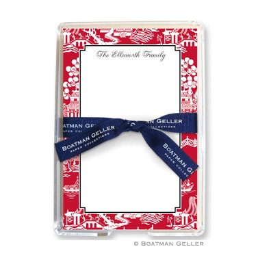 Chinoiserie Red Personalized Note Sheets by Boatman Geller