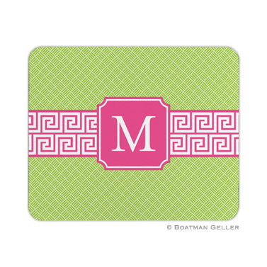 Personalized Mouse Pad Greek Key Band Green & Pink