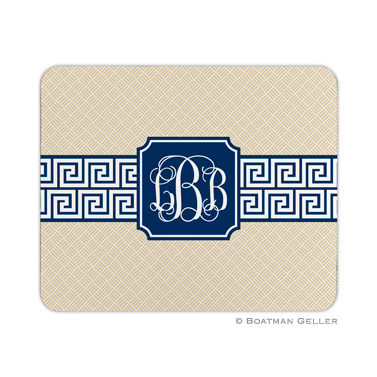 Personalized Mouse Pad Greek Key Band Gold & Navy