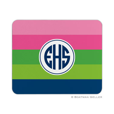 Personalized Mouse Pad Bold Stripe Pink & Green