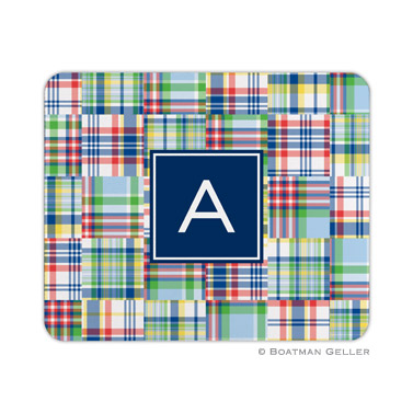 Personalized Mouse Pad Madras Patch Blue