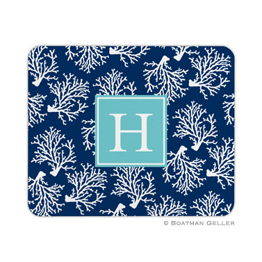 Personalized Mouse Pad Coral Repeat Navy