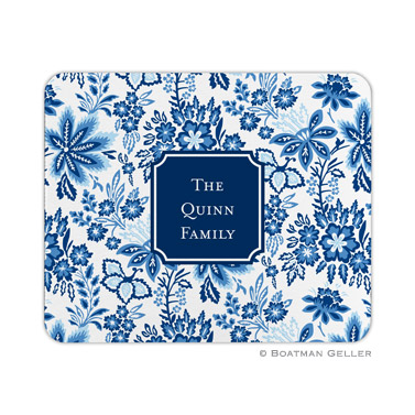 Personalized Mouse Pad Classic Floral Blue
