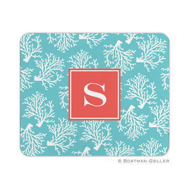 Personalized Mouse Pad Coral Repeat Teal