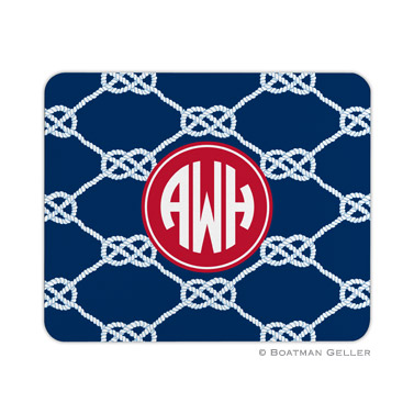 Personalized Mouse Pad Nautical Knot Navy