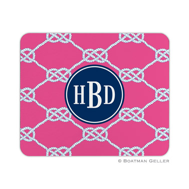Personalized Mouse Pad Nautical Knot Raspberry