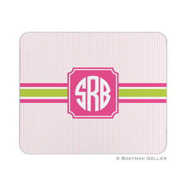 Personalized Mouse Pad Stripe Seersucker Band Pink