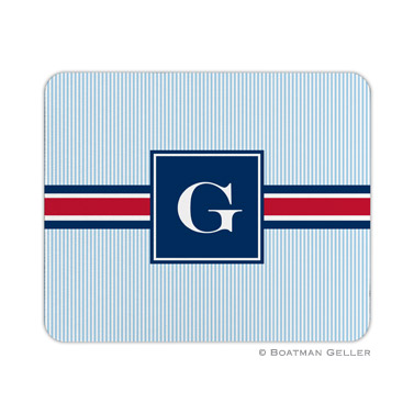 Personalized Mouse Pad Stripe Seersucker Band Blue