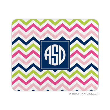 Personalized Mouse Pad Chevron Pink, Navy & Lime