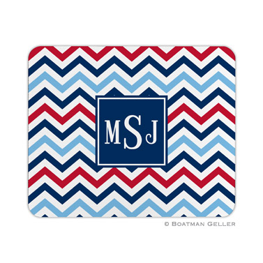 Personalized Mouse Pad Chevron Blue & Red