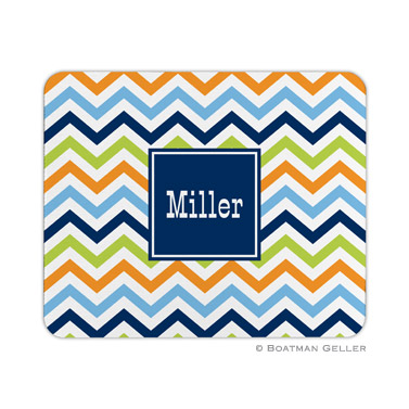 Personalized Mouse Pad Chevron Blue, Orange & Lime