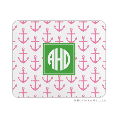 Personalized Mouse Pad Anchors Pink
