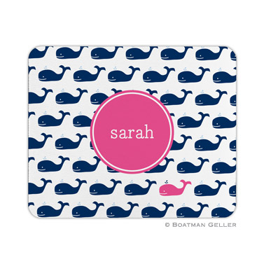 Personalized Mouse Pad Whale Repeat Navy
