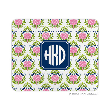 Personalized Mouse Pad Pineapple Repeat Pink