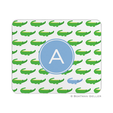 Personalized Mouse Pad Alligator Repeat Blue