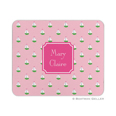 Personalized Mouse Pad Little Sailboat Pink
