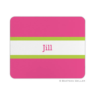 Personalized Mouse Pad Stripe Raspberry & Lime