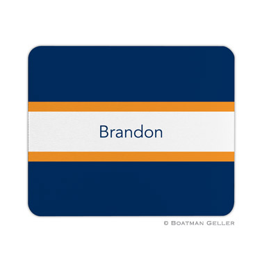 Personalized Mouse Pad Stripe Navy & Tangerine