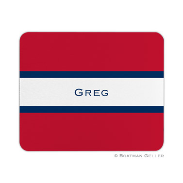 Personalized Mouse Pad Stripe Red & Navy - Boatman Geller