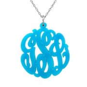 Turquoise Center Bale Script Monogram Necklace