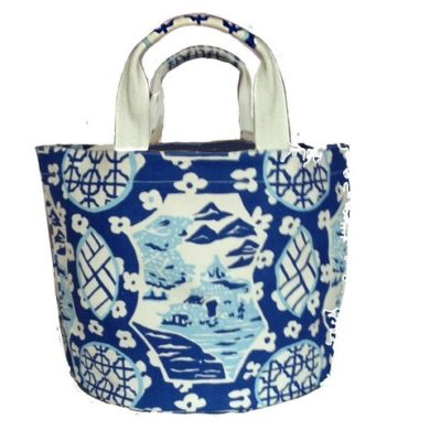Canton Bucket Tote in Blue by Dana Gibson