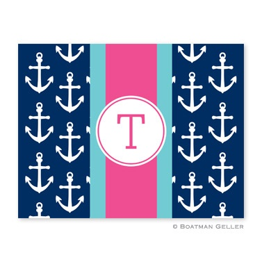 Personalized Folded Note Cards Anchors Ribbon Navy