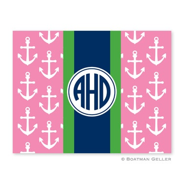 Personalized Folded Note Cards Anchors Ribbon Pink
