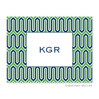 Personalized Folded Note Cards Blaine Navy & Kelly