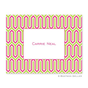 Personalized Folded Note Cards Blaine Pink & Green
