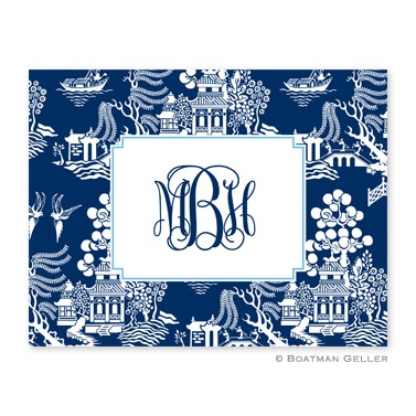 Personalized Folded Note Cards Chinoiserie Navy - Boatman Geller