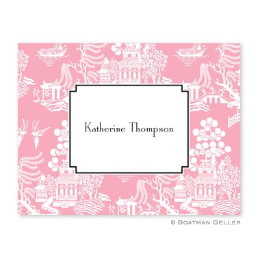 Personalized Folded Note Cards Chinoiserie Pink