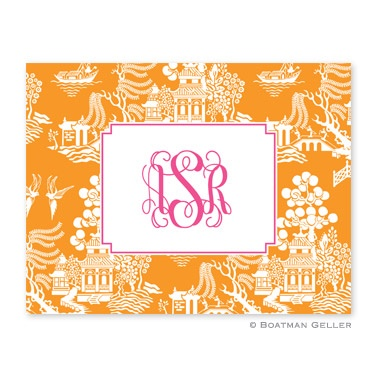 Personalized Folded Note Cards Chinoiserie Tangerine