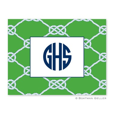 Personalized Folded Note Cards Nautical Knot Kelly