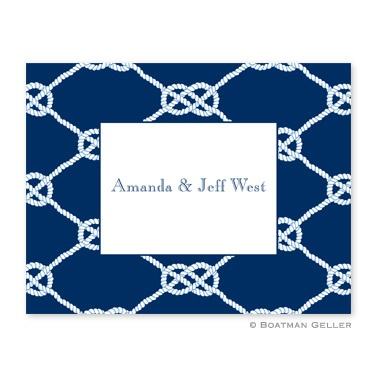 Personalized Folded Note Cards Nautical Knots Navy