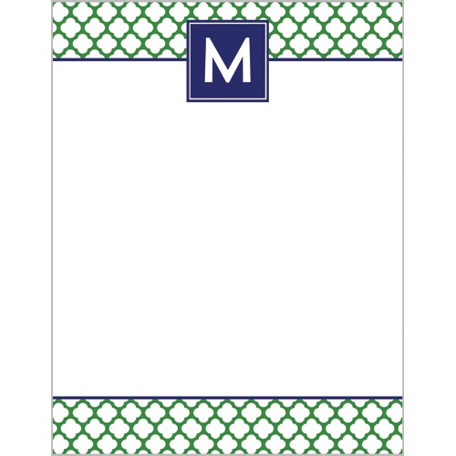 Monogram Notepad Preppy Clover Wh Hostess Classic Prep