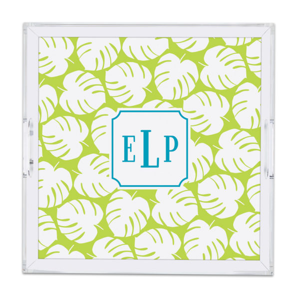 Monogram Lucite Tray Palm Lime