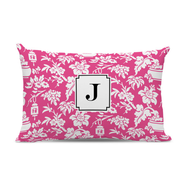 Monogram Pillow Anna Floral Raspberry - Lumbar