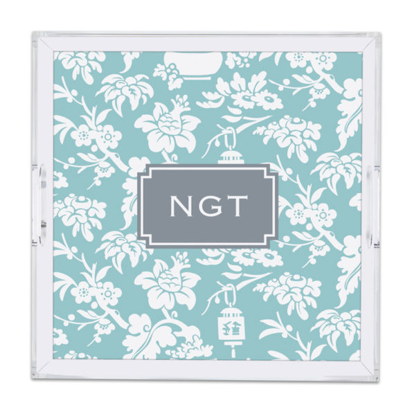 Monogram Lucite Tray Anna Floral Slate