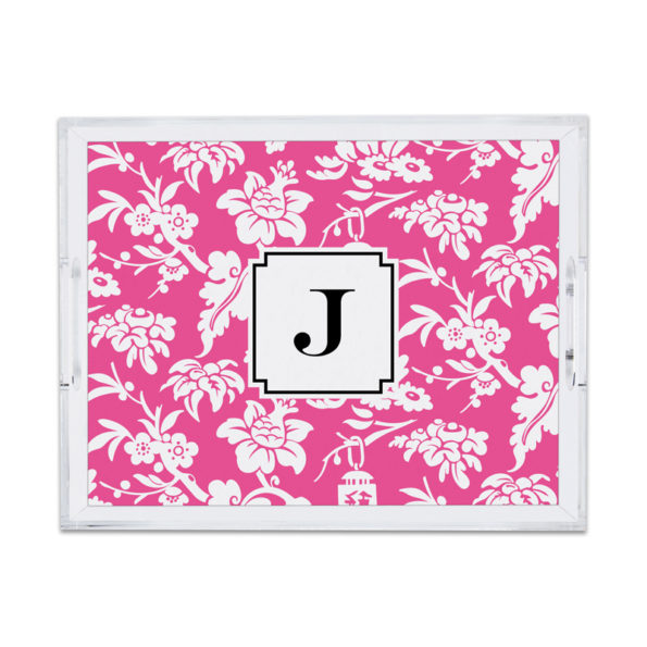 Monogram Lucite Tray Anna Floral Raspberry