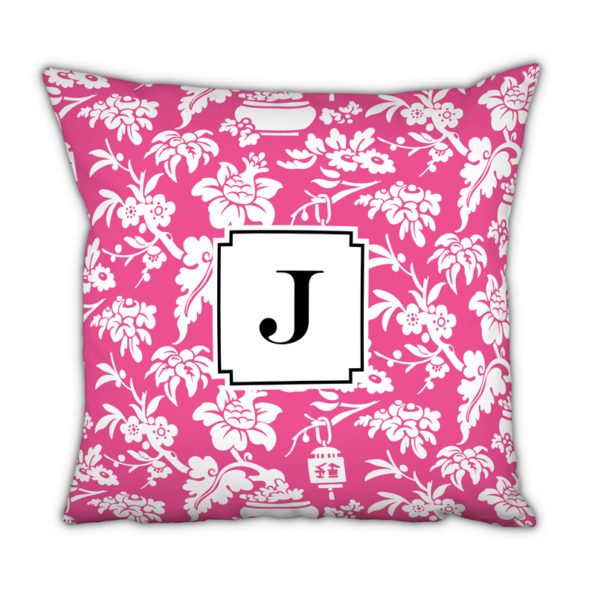 Monogram Pillow Anna Floral Raspberry - Square