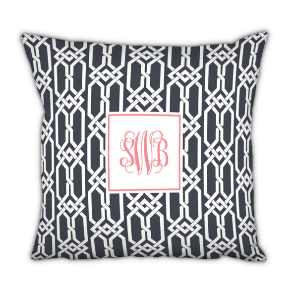 Monogram Pillow Arden Charcoal - Square
