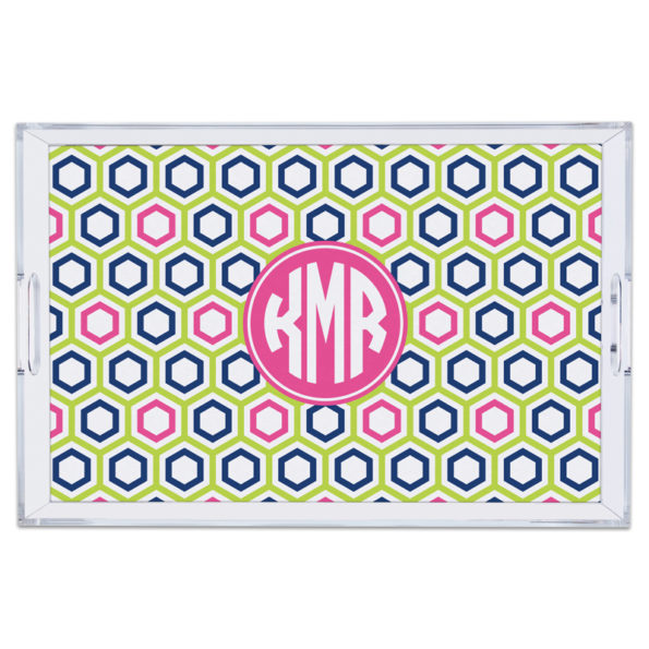 Monogram Lucite Tray Maggie Lime & Navy