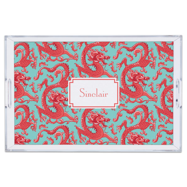 Monogram Lucite Tray Imperial Coral
